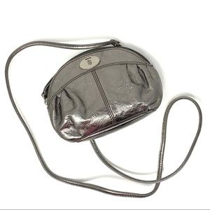 Fossil Pewter Silver Leather Crossbody Purse